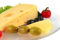 Delicatessen cheese served on dish Royalty Free Stock Photography
