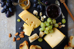 Delicatessen cheeses with grapes Royalty Free Stock Photo