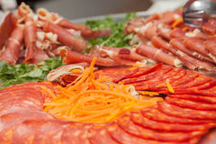 Delicatessen cold meats and salad Royalty Free Stock Photography