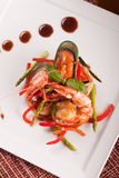 Delicatessen dish with seafoods. Top view Stock Photography