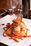 Delicatessen dish with seafoodsshrimp, prawn, muss Stock Photography
