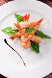 Delicatessen dish with shrimps Royalty Free Stock Photography