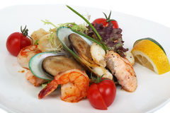 Delicatessen dish with tiger shrimps, mussels Royalty Free Stock Photography