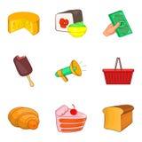 Delicatessen icons set, cartoon style. Delicatessen icons set. Cartoon set of 9 delicatessen vector icons for web isolated on white background royalty free illustration