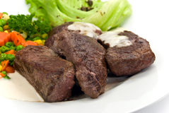 Delicatessen-steak of ostrich,vegetables,salad Stock Photo