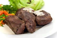 Delicatessen-steak of ostrich,vegetables,salad Stock Photo