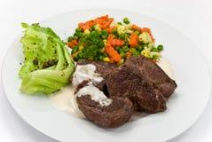 Delicatessen-steak of ostrich,vegetables,salad Royalty Free Stock Images