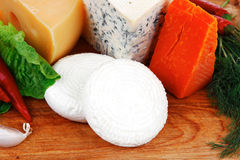 Delicatessen types of cheese on Stock Photo