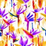 Delicato pastello della giungla del modello della stampa dell'acquerello del legame della tintura del fiore senza fine senza cuci illustrazione vettoriale
