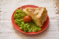 Deliciious pie with cheese and fresh lettuce Stock Photography