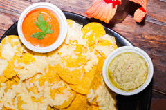 Delicios classic Guacamole with tortilla chips, Tex Mex dish Stock Image