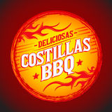 Deliciosas Costillas BBQ - Delicious BBQ Ribs spanish text. Grunge rubber stamp, fast food icon, emblem, eps available royalty free illustration