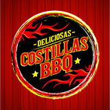 Deliciosas Costillas BBQ - Delicious BBQ Ribs spanish text Stock Photo