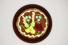 Delicioso, adornado con una torta poner crema Torta ucraniana tradicional de Kiev imagen de archivo libre de regalías