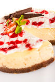 Delicioso cremoso del postre fresco del pastel de queso de la fresa Imagen de archivo libre de regalías