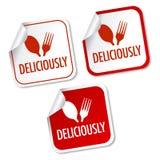 Delicioso etiquetas engomadas Fotografía de archivo libre de regalías