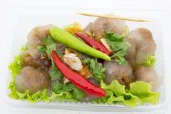 Delicioso picante do pimentão vermelho da carne de porco das tapiocas muito Fotografia de Stock