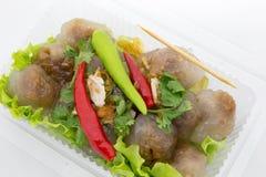 Delicioso picante do pimentão vermelho da carne de porco das tapiocas muito Fotos de Stock Royalty Free