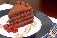 Free Delicious 4 Layer Chocolate Cake With Raspberries Stock Photo - 1535500