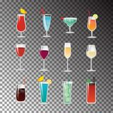Delicious Alcohol Cocktails for Good Summer Party. Delicious alcohol cocktails in glasses with fruit slices and thin straws for summer party  vector Royalty Free Stock Images