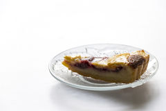 Delicious almond pie closeup at the table. Delicious almond pie closeup at the white table Stock Photography
