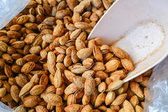 A delicious almonds. food raw material. Stock Photo