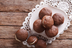 Delicious American Whoopie pie dessert horizontal top view Royalty Free Stock Images