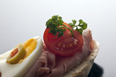 Delicious appetiser on baguette Royalty Free Stock Image