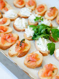 Delicious appetizer canapes Stock Photos