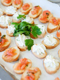 Delicious appetizer canapes Stock Photo