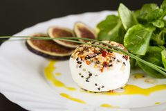 Delicious appetizer of goats milk cheese and figs Royalty Free Stock Photo
