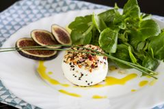 Delicious appetizer of goats milk cheese and figs Royalty Free Stock Image