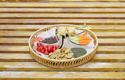 Delicious appetizer with salad, bread and chips Stock Image