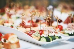 Delicious appetizer at served table in restaurant royalty free stock photos