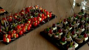 Delicious appetizer at served table in restaurant. Served table with various snacks, canape and appetizers. Beautifully decorated catering banquet table stock video footage