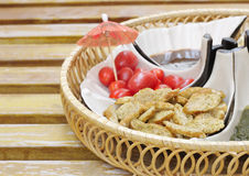 Delicious appetizer with short bread shallow DOF Stock Photos