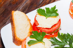 Delicious appetizer, stuffed tomatoes with cream cheese Stock Images