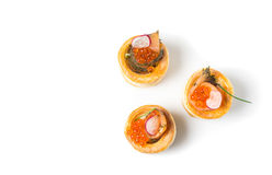 Delicious appetizers with graved salmon Royalty Free Stock Photography