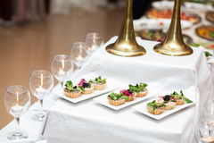 Delicious appetizers on a table in a restaurant Royalty Free Stock Images