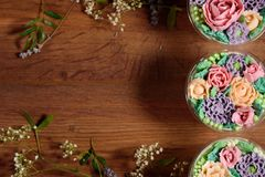 Delicious, appetizing, fragrant dessert. Triple delicious light dessert, decorated with oil flowers. royalty free stock images