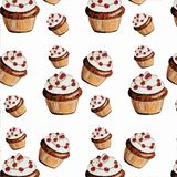 Delicious appetizing muffins, cupcakes on white background Royalty Free Stock Photo