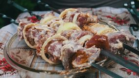Delicious appetizing pieces of a fresh meat strung on skewers ready for barbecue stock footage
