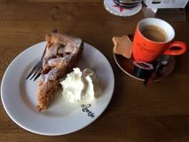 Apple Cake and Coffee in Amsterdam stock photography