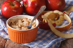 Delicious apple crumble close-up in a pot. Horizontal rustic Stock Images