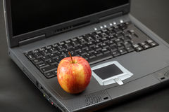 Delicious apple on laptop Stock Image