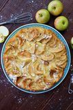 Delicious Apple pie with powdered sugar and fruits Stock Photos
