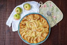 Delicious Apple pie with powdered sugar and fruits Stock Image