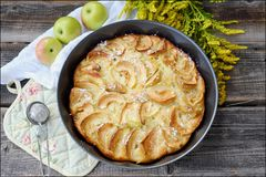 Delicious Apple pie with powdered sugar and fruits Stock Photo