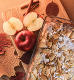 Delicious apple pie on a wooden board. Royalty Free Stock Photography