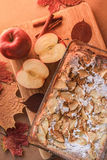 Delicious apple pie on a wooden board. royalty free stock photos